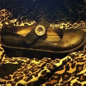 Alegria Brown  Metallic Mary Jane Wedge Shoe . 9